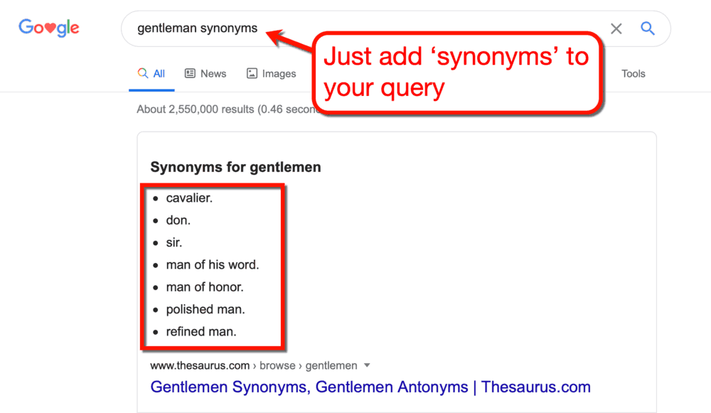 Google SERP for Gentleman Synonyms
