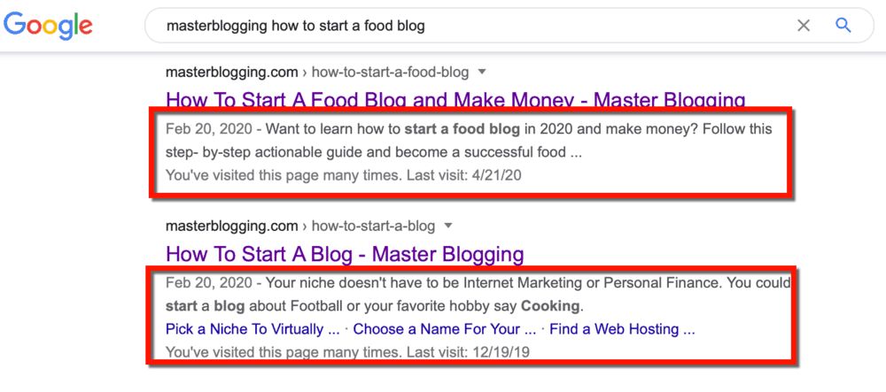 Google SERP Meta Descriptions