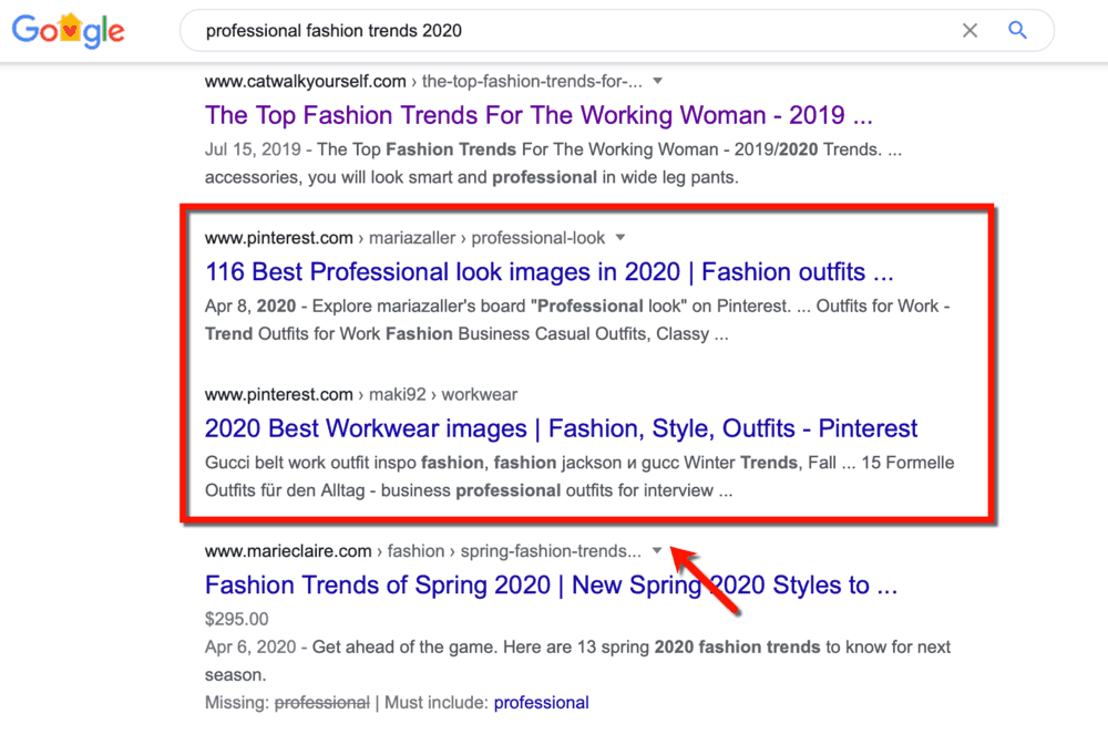 Pinterest appearing in SERPs