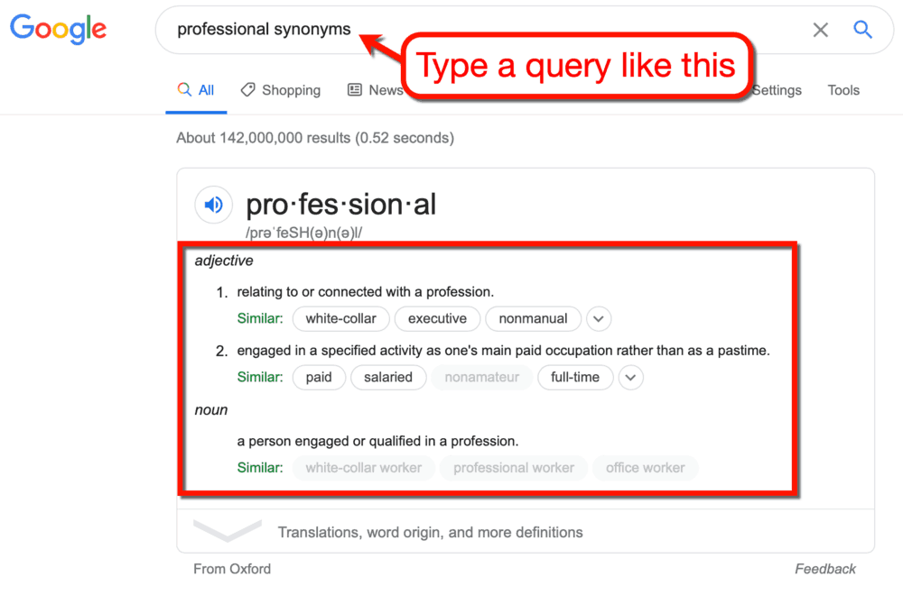 Google SERP Professional Synonyms