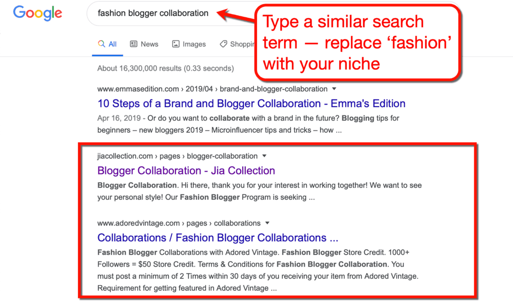 Google SERP for Fashion Blogger Collaboration