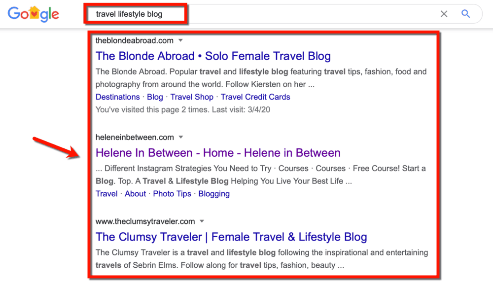 Travel Lifestyle Blog Competitors in SERP