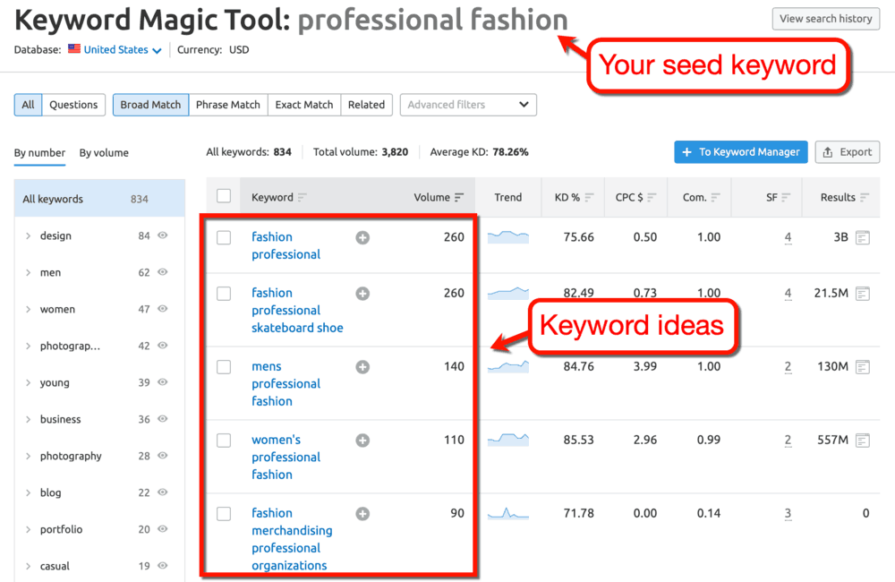 Keyword Magic Tool Results for Professional Fashion