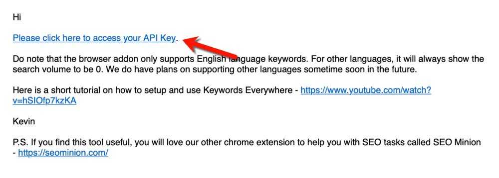 Keywords Everywhere Activation Email