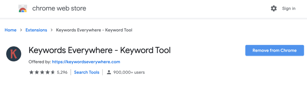 Keywords Everywhere Extension Page