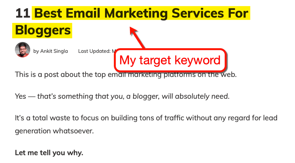 Target Keyword in Master Blogging Post
