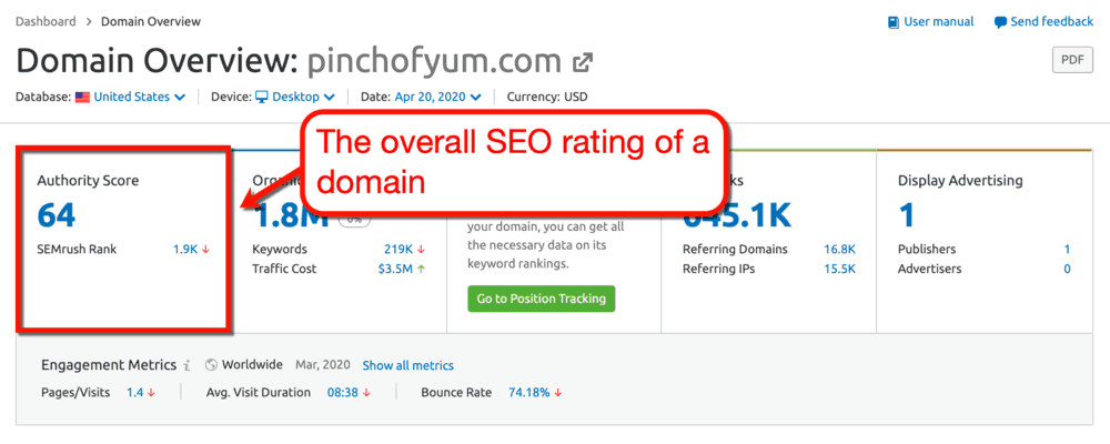 SEMrush Domain Overview Report
