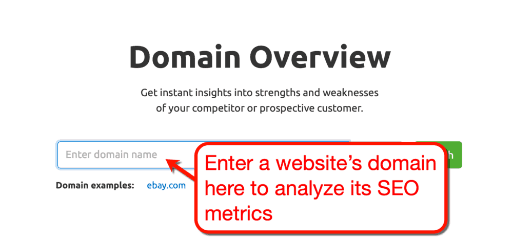 SEMrush Domain Overview Tool