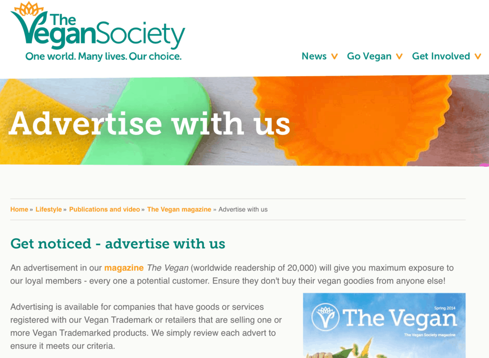 The Vegan Society's Advertise with Us Page