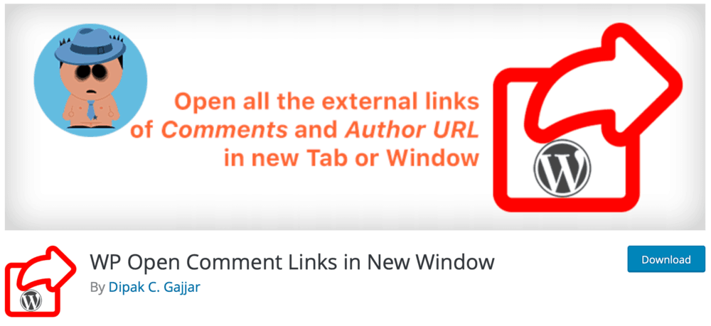 WP Open Comment Links in New Window