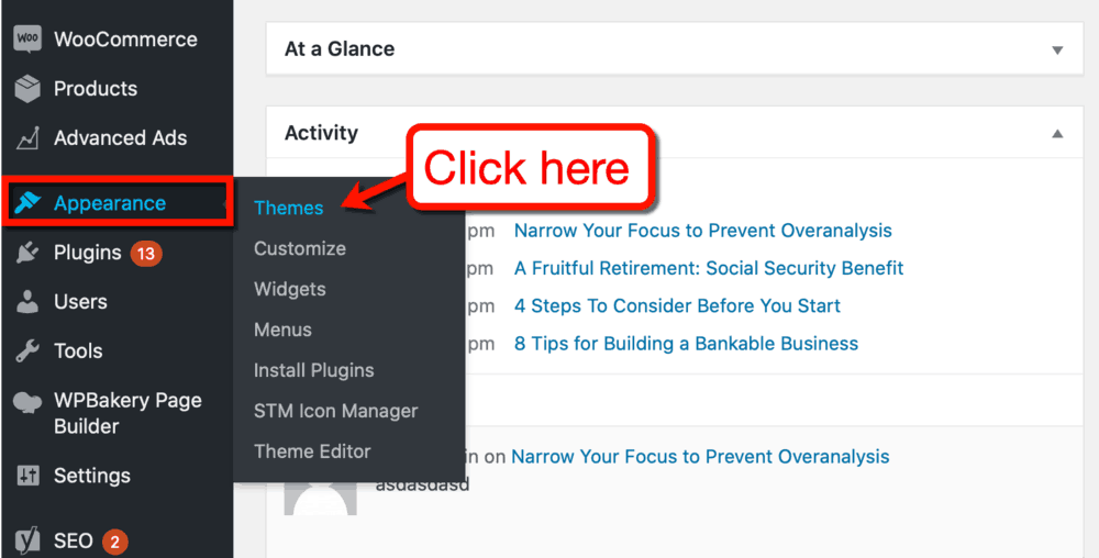 WordPress Appearance Sub-Menu