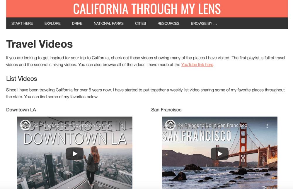 California Through My Lens Videos