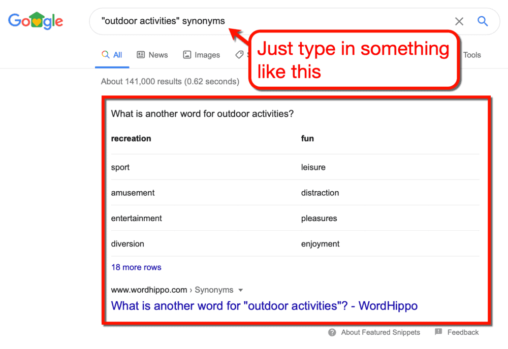 Looking for Synonyms on Google