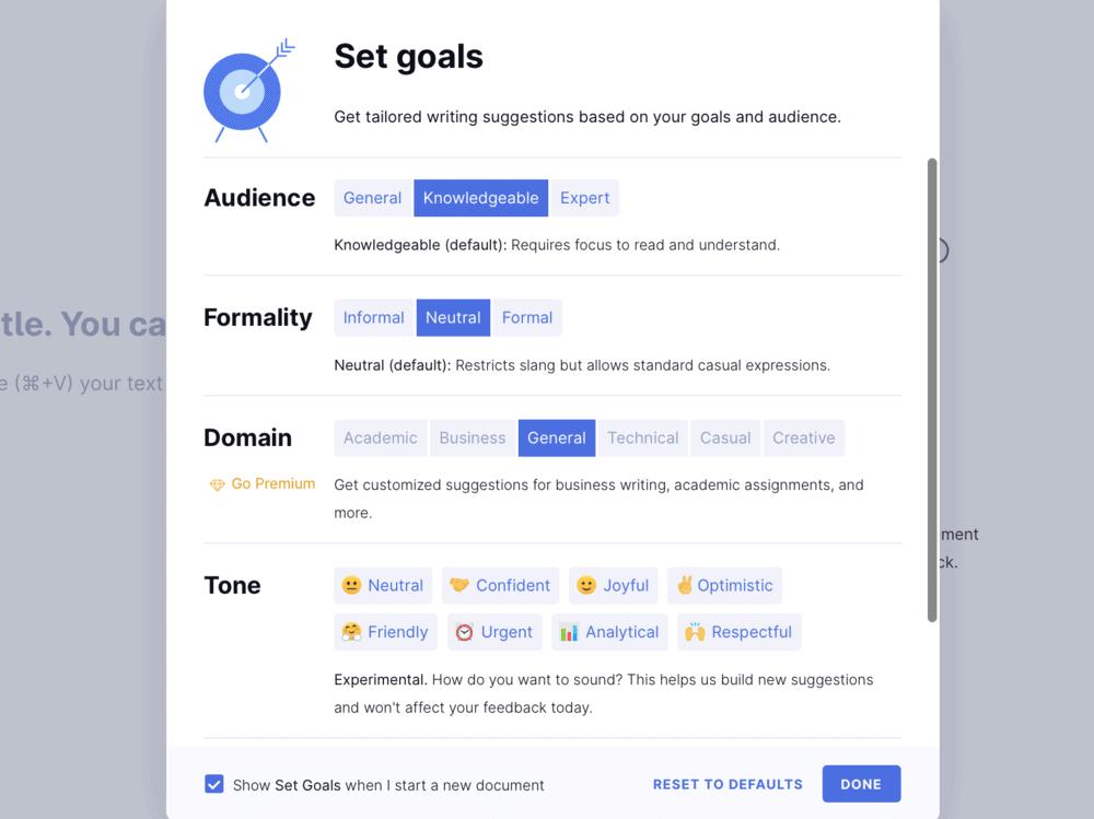 Grammarly Set Goals