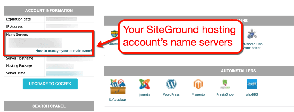 SiteGround Account Details Name Servers