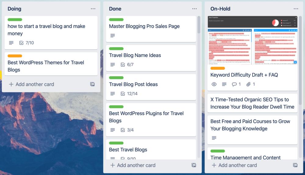 Trello Master Blogging Board