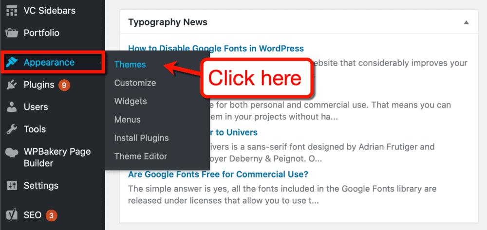 WordPress Appearance Sub-Menu