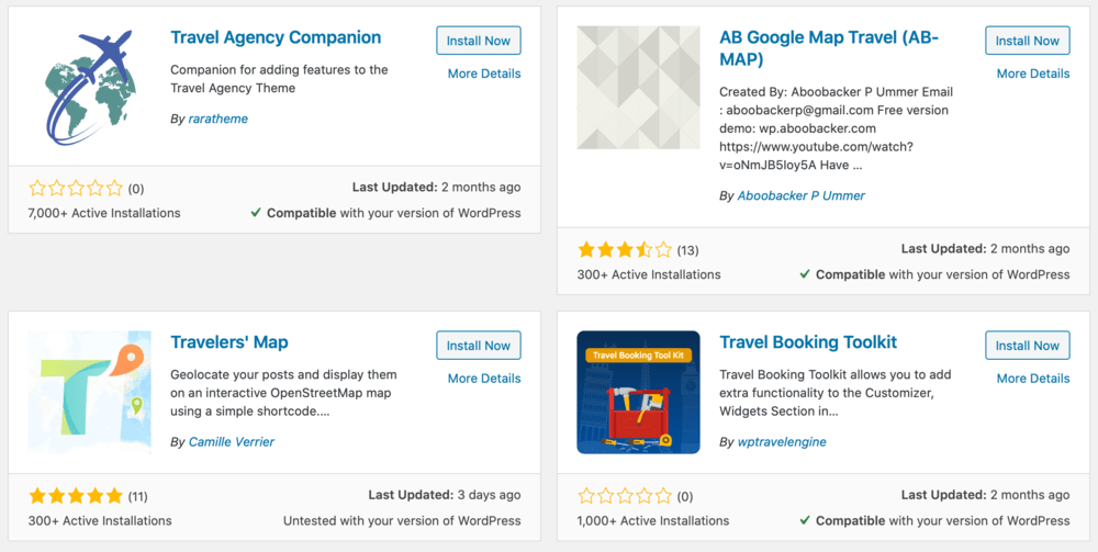 WordPress Travel Plugins