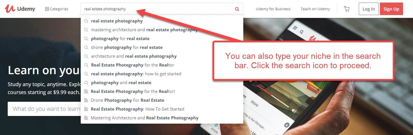 Udemy search bar
