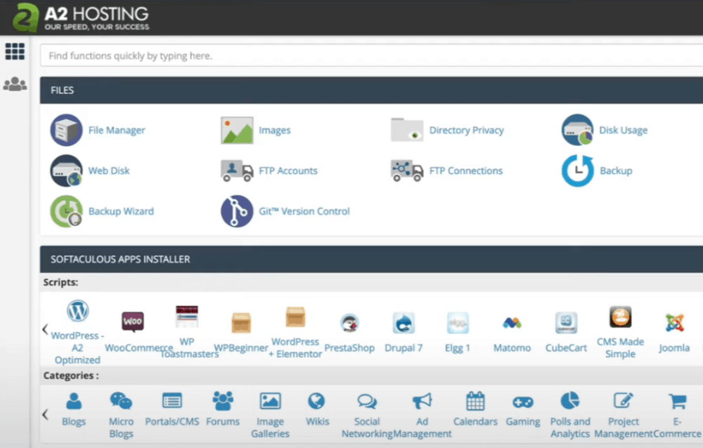 A2 Hosting Dashboard