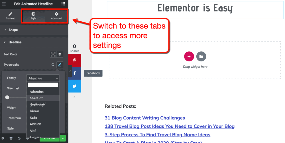 Style and Advanced Tabs