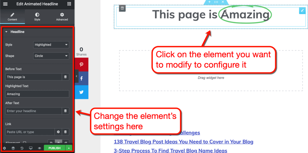 How to edit an element's settings