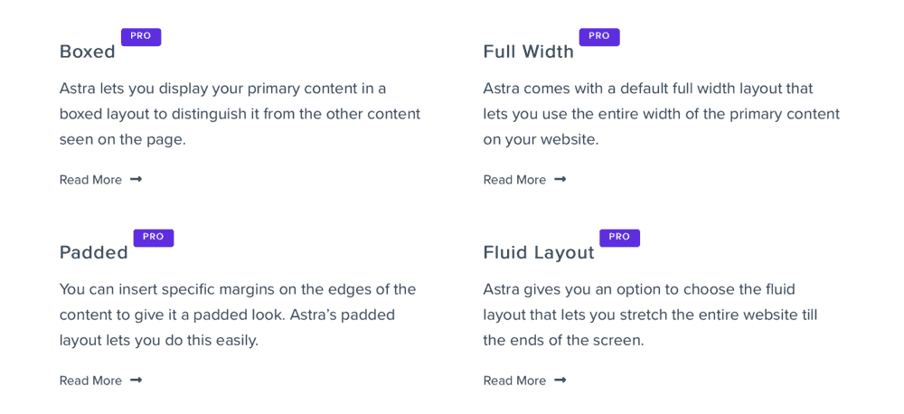 Astra website layouts