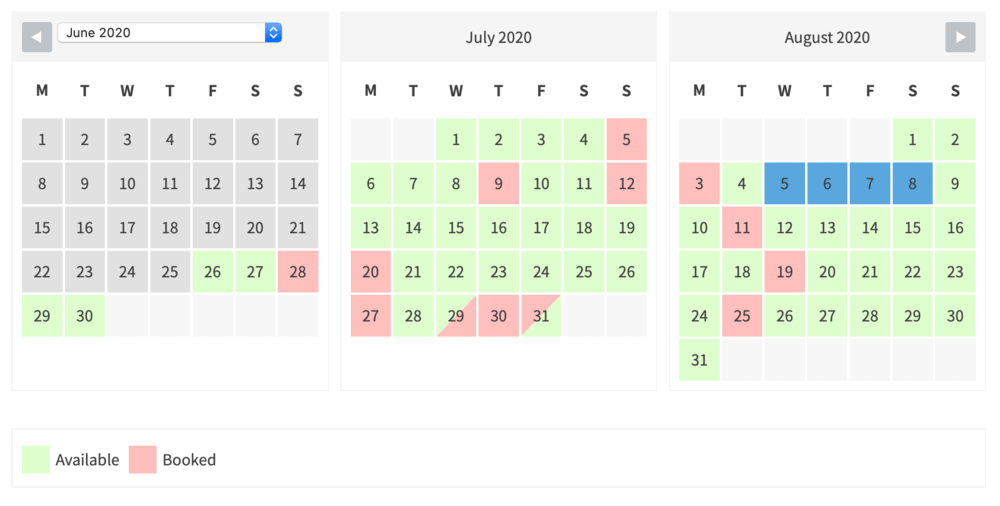 Bellevue booking calendar