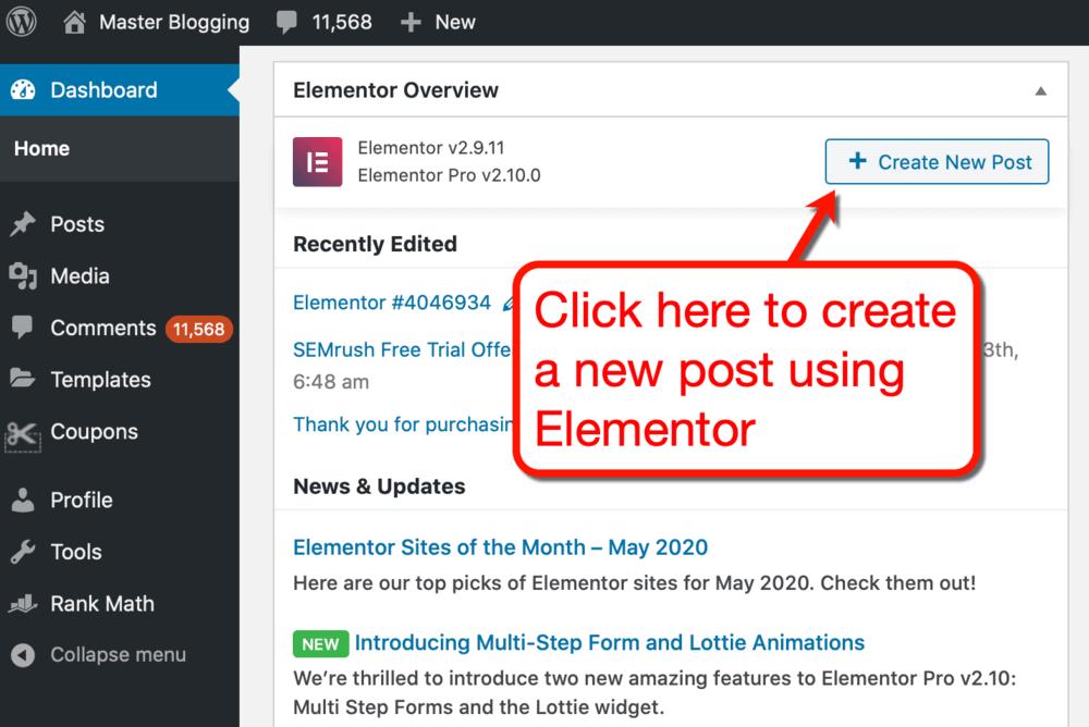 Create New Post button