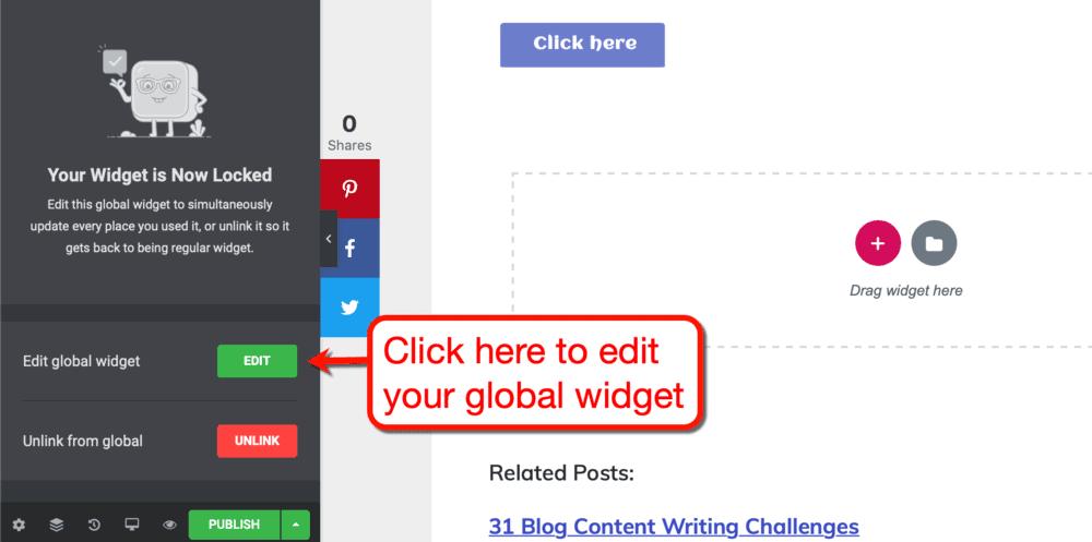 Editing a global widget
