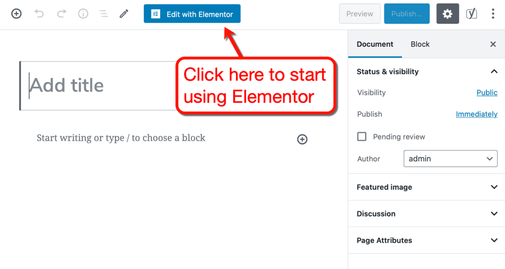 Edit with Elementor button