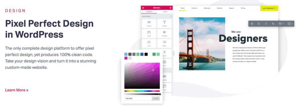Elementor design features