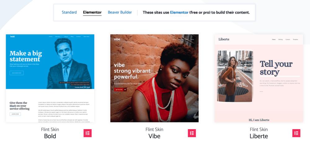 GeneratePress Elementor templates