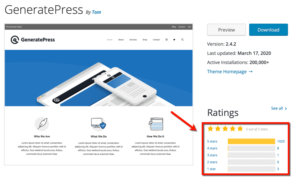 GeneratePress Ratings