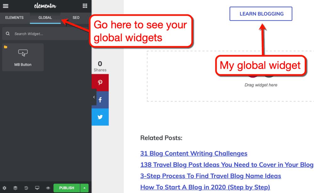 Learn Blogging Global Widget