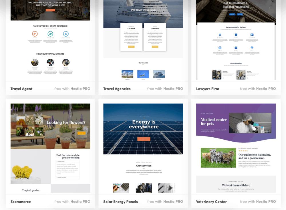 Hestia Pro material design templates