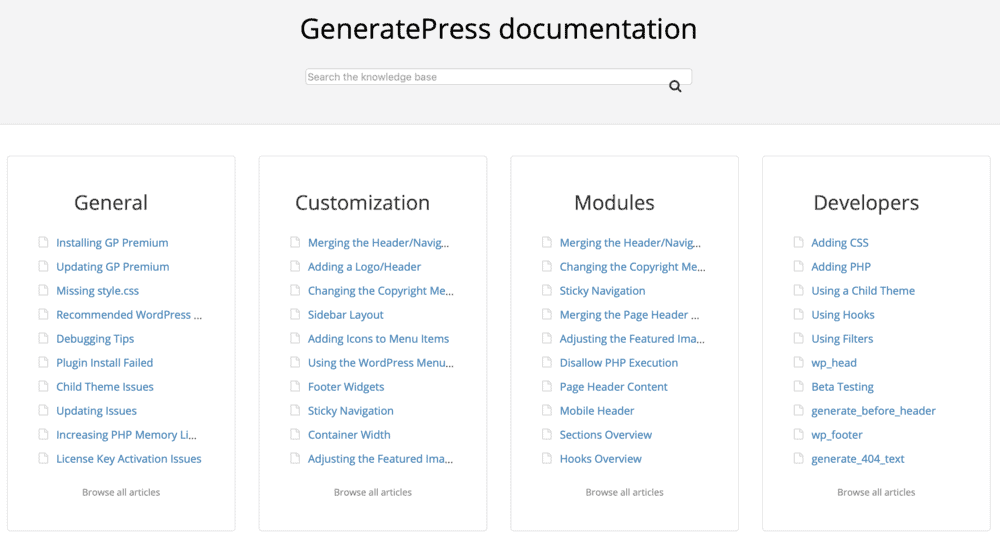 GeneratePress Documentation Page