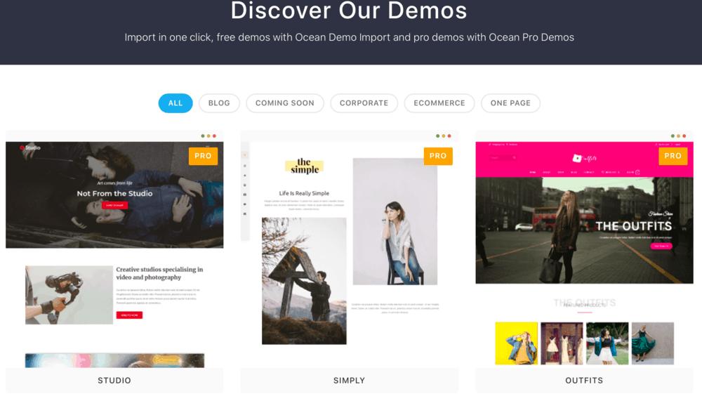 OceanWP website demos