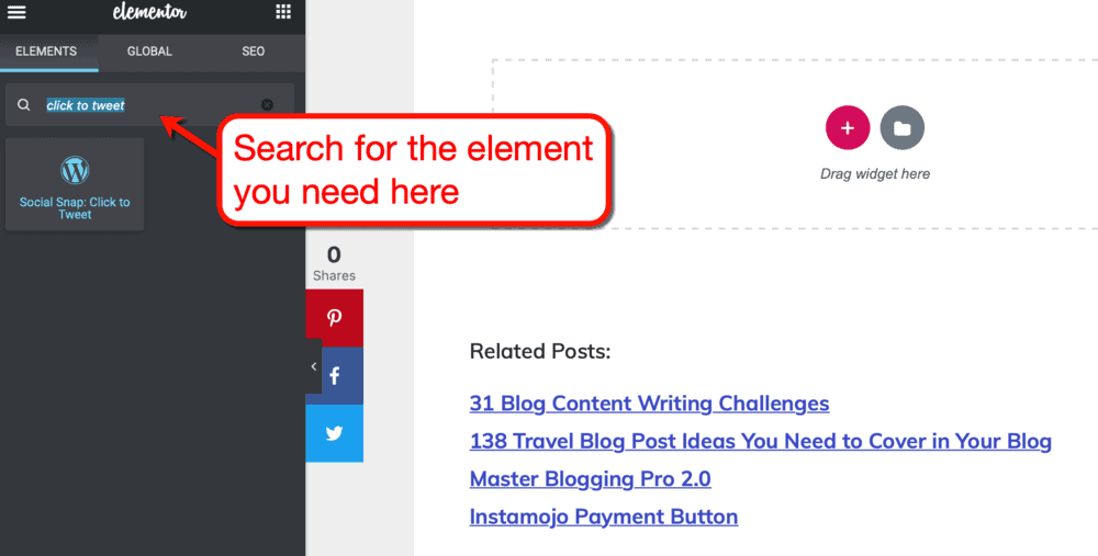 How to search for Elementor widgets