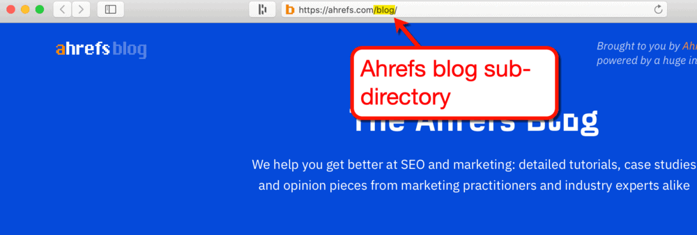 WordPress blog sub-directory by Ahrefs