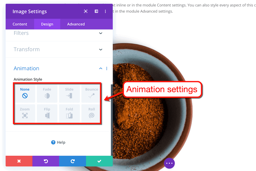 Divi animation settings