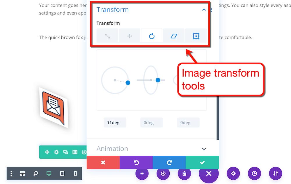 Divi transform tools