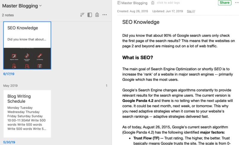 Evernote Master Blogging Notebook