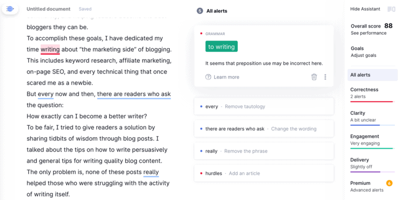Grammarly Editor and Assistant