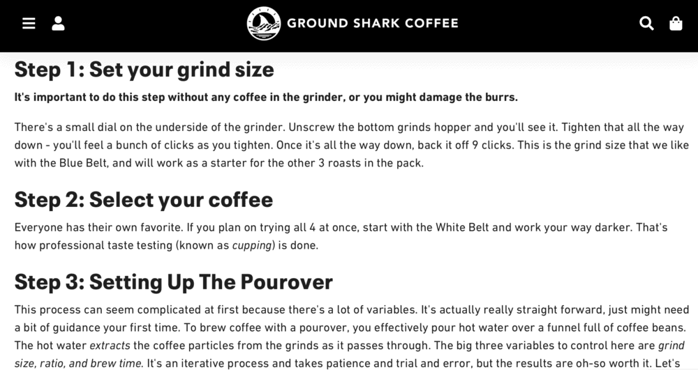 Ground Shark Coffee How-to guide