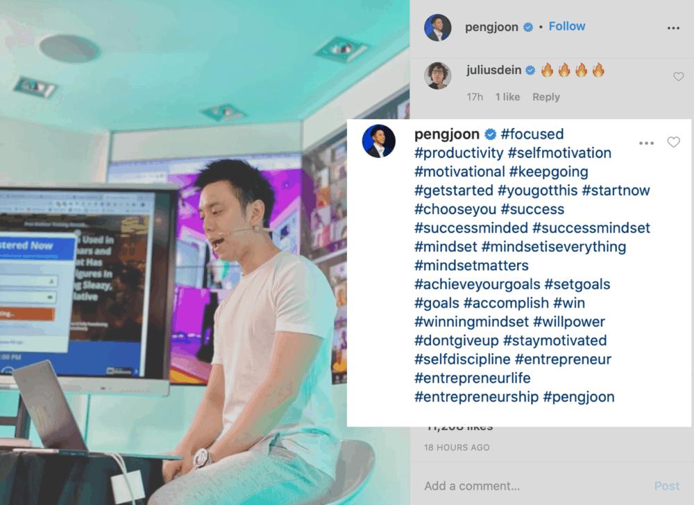 How Peng Joon adds hashtags