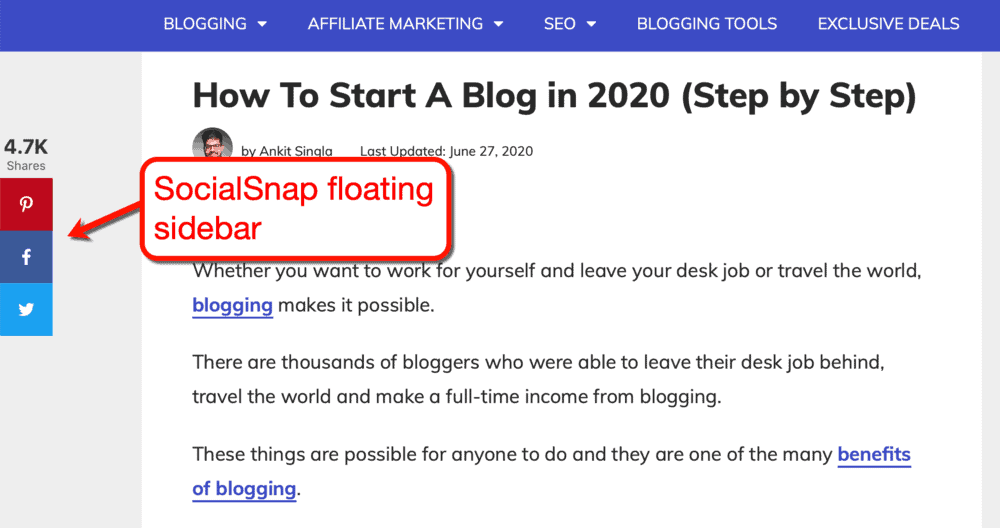 SocialSnap floating sidebar