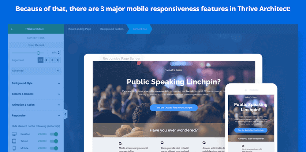 Thrive Architect mobile experience