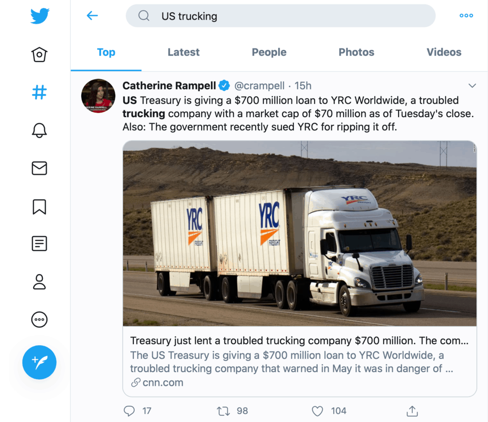 Twitter US trucking news