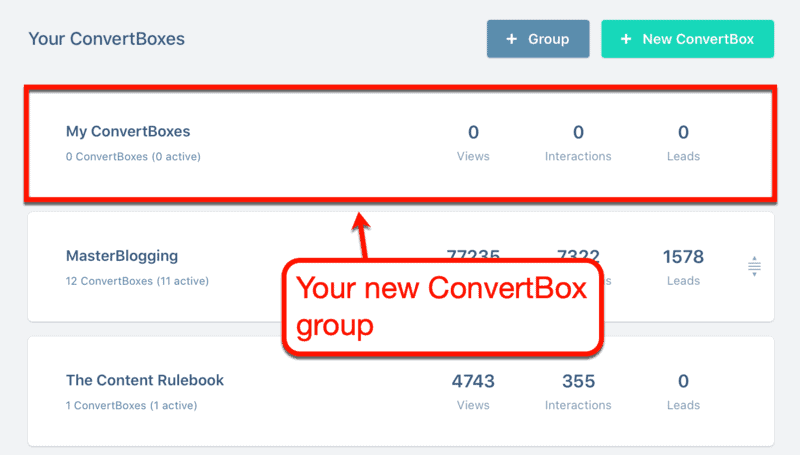 Dashboard ConvertBox Group